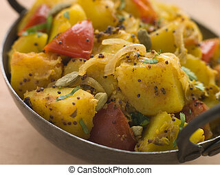 Bombay, Aloo, -, curried, batatas