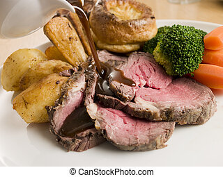 Molho, sendo, despejado, prato, assado, carne, Yorkshire,...