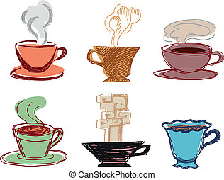 Set Of Hand Drawn Cups - Set Of Cups With Hot Drinks