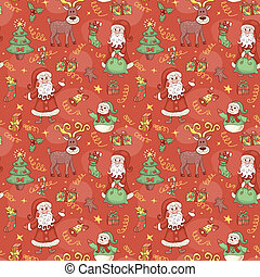 Red holiday seamless pattern.