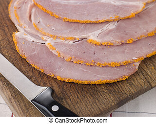 Slices of Boiled Breadcrumbed Ham