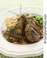 Grilled Lamb Cutlets Chasseur sauce Pomme Anna and Baby...