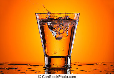 Ice in a glass with water