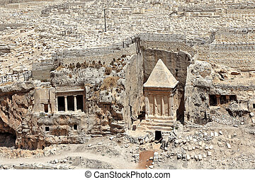 Ancient tomb and cemetery in Jerusalem, Israel. - Tomb of...
