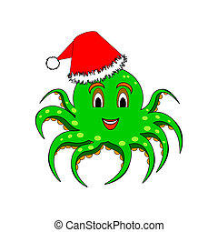 A funny Christmas octopus isolated on a white background - A...