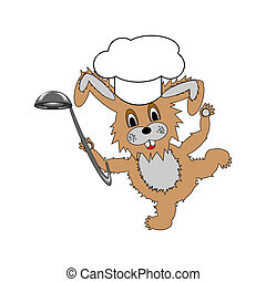 A funny cartoon rabbit wearing a chef hat and with a soup...