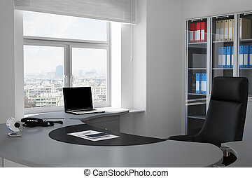 Office with urban view through window and grey table