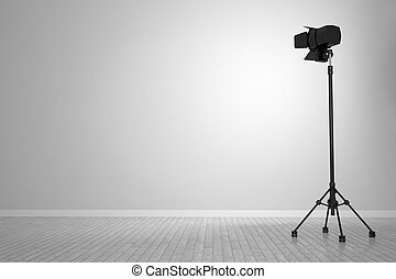 White wall with spotlight as background and stage object
