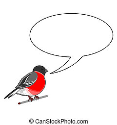 A funny bullfinch with a chatting bubble Vector-art...