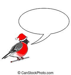 A funny Christmas bullfinch with a speech bull Vector-art...
