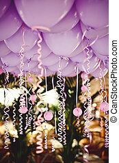 balões, sob, Teto, casório, Partido