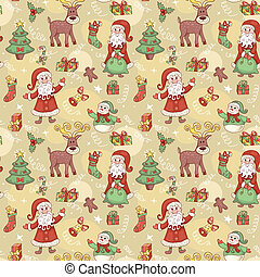 Holliday seamless pattern with santa - Holiday seamless...