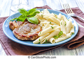 Pasta and steak