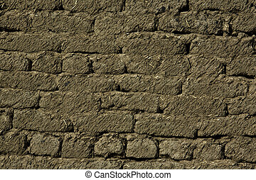 Wall of Clay Bricks - Old house wall made of clay bricks Can...