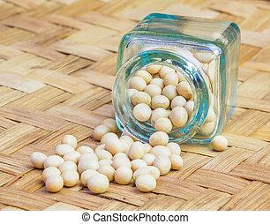 Soya bean spilled on a wicker mat