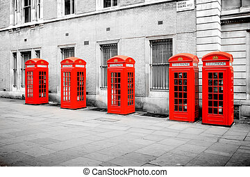 red phone boxes London - The five red phone boxes in London