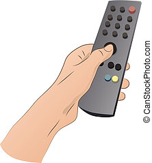 Hand With Remote Control - Hand with remote control isolated...