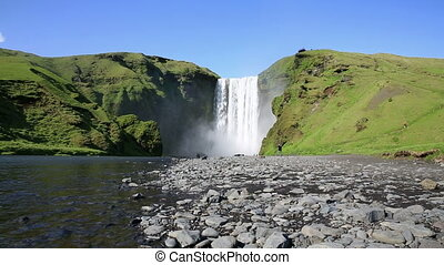 Skogafoss waterfall - Wide angle view of Skogafoss waterfall...