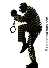man prisoner criminal with chain ball silhouette - one...