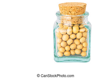 Soya bean in a small corked bottle