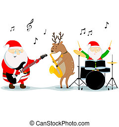 christmas musicians - Santa Claus, reindeer, and dwarf play...