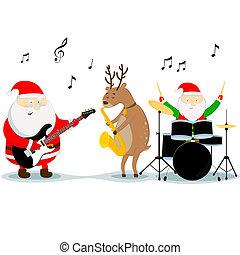 christmas musicians - Santa Claus, reindeer, and dwarf play...