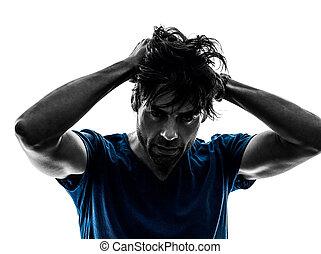 Stubble, homem, dor de cabeça, ressaca, desespero,...