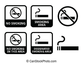 No smoking, smoking area icons - Vector icons set -...