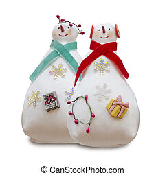 Handmade isolated snowmans couple - The Handmade isolated...