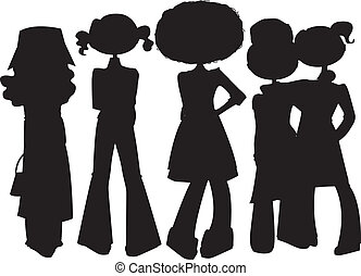 Little girls silhouettes set