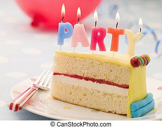 Partido, velas, fatia, aniversário, bolo