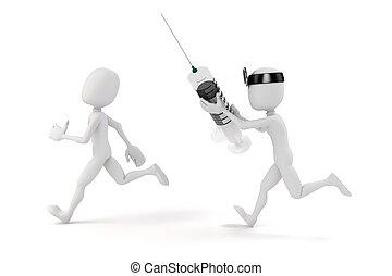 3D, homme, docteur, seringue, blanc, fond
