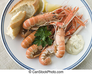 Langouste with Garlic Mayonnaise Lemon and Crusty baguette