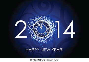 2014 Happy New Year clock - Vector 2014 Happy New Year blue...