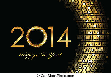 2014 Happy New Year - Vector - 2014 Happy New Year golden...