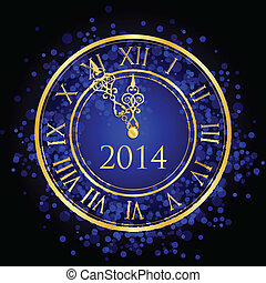 blue and gold New Year clock - Vector illustration of blue...