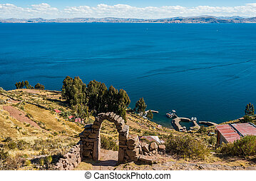 Titicaca Lake from Taquile Island in the peruvian Andes at Puno Peru