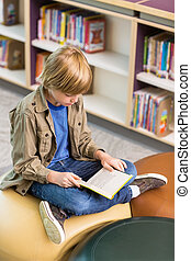 Boy Reading Book In School Library - Full length of young...