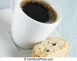 Cup of Espresso Coffee with Hazelnut Biscotti