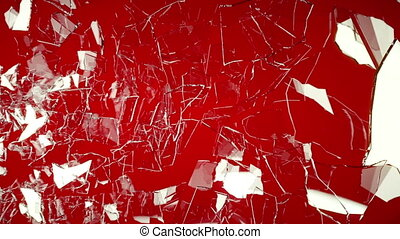 Cracked and Shattered glass on red