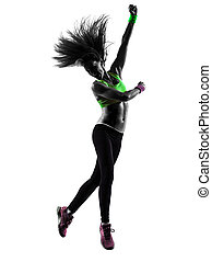 woman exercising fitness zumba dancing jumping silhouette -...
