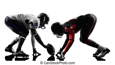 two american football players on scrimmage silhouette - two...