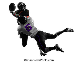two american football players tackle silhouette - two...