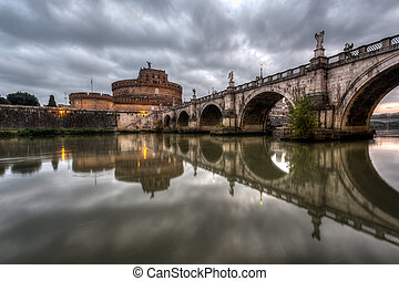 Castle of Holy Angel and Holy Angel Bridge over the Tiber...