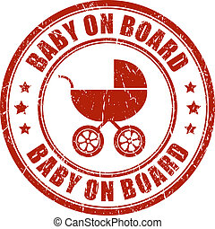 Baby on board vector stamp
