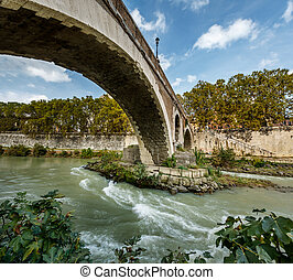 Panorama of Tiber Island and Fabricio Bridge over Tiber...