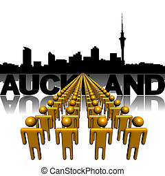 Lines of people with Auckland skyline illustration
