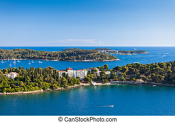 Croatia Islands and Adriatic Sea Aerial View from Rovinj...
