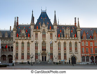 City hall of Bruges - City hall in old town, Bruges, Belgium...