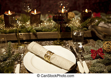 christmas table, with candles - christmas place setting with...
